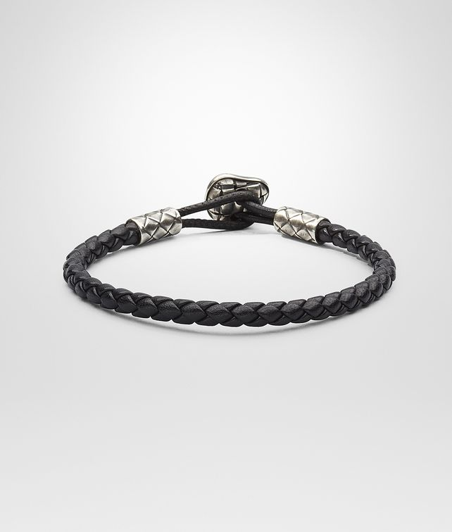 BOTTEGA VENETA BRACELET IN NERO INTRECCIATO NAPPA AND SILVER Bracelet U fp