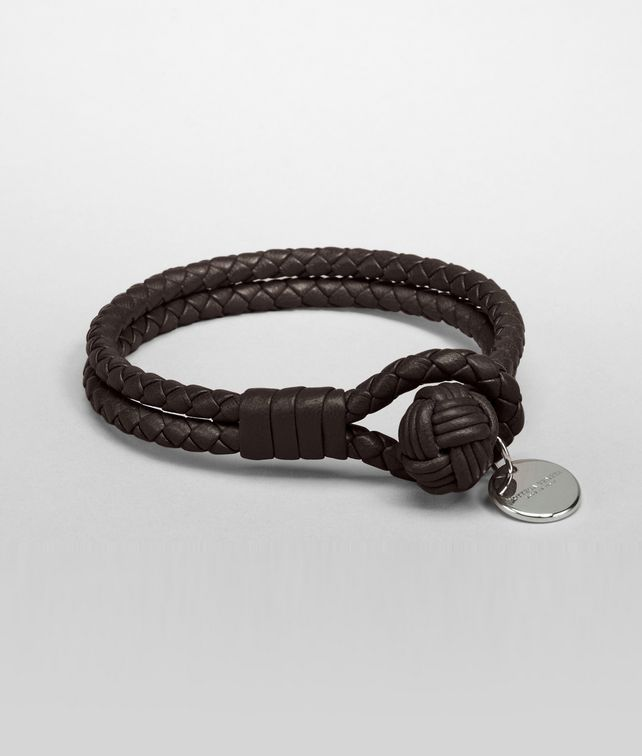 jewelry woven normal veneta brown bottega espresso double leather bracelet product women lyst for in