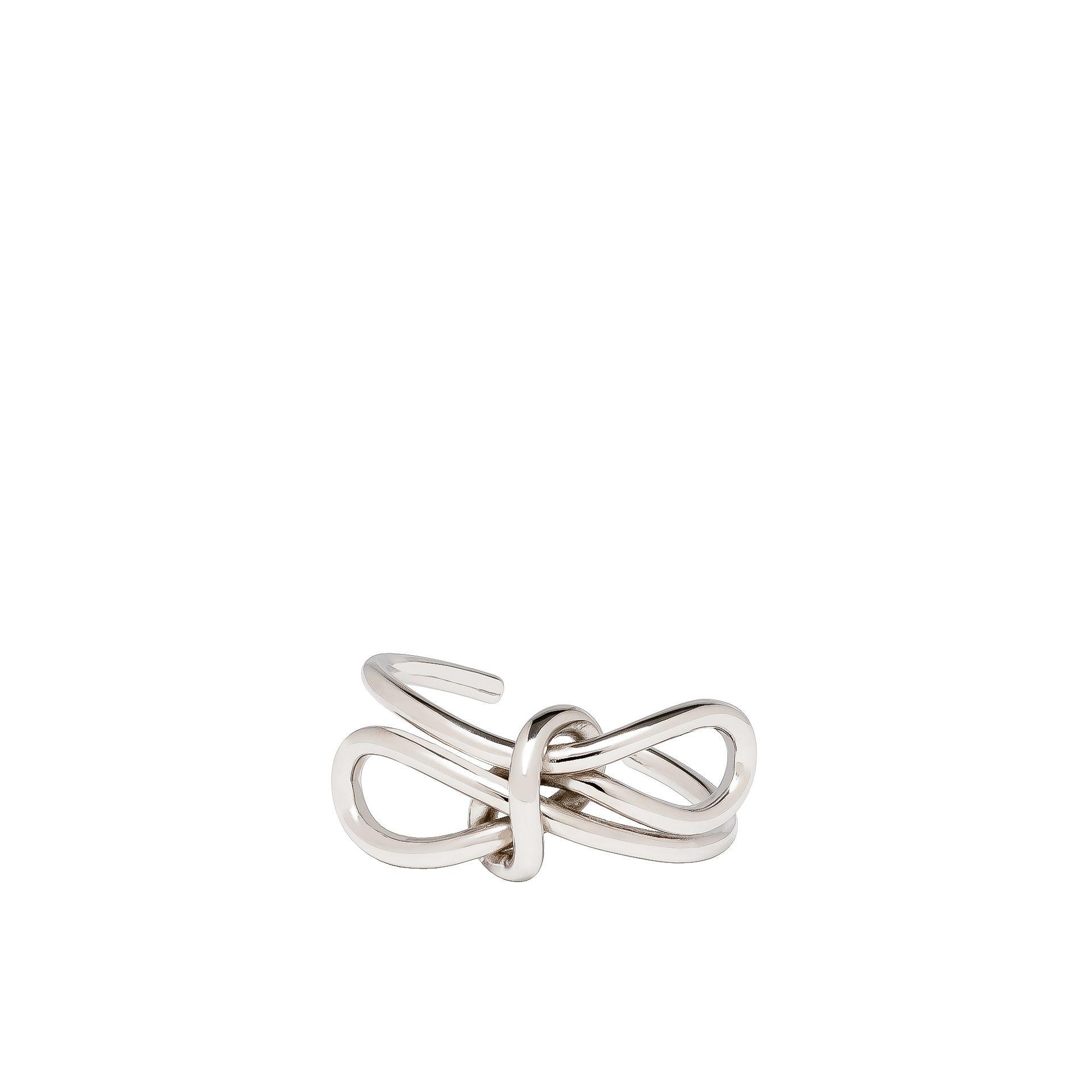 Balenciaga Silver Lace Up Bow Bracelet