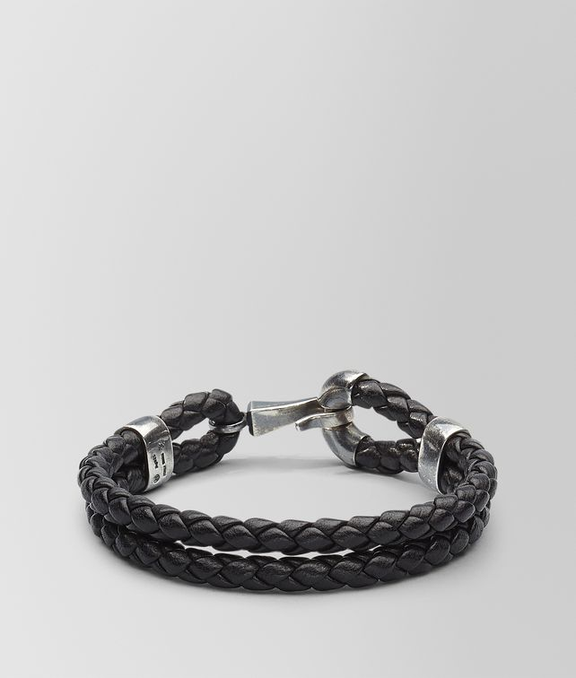 BOTTEGA VENETA BRACELET IN NERO INTRECCIATO NAPPA AND SILVER Bracelet Man fp