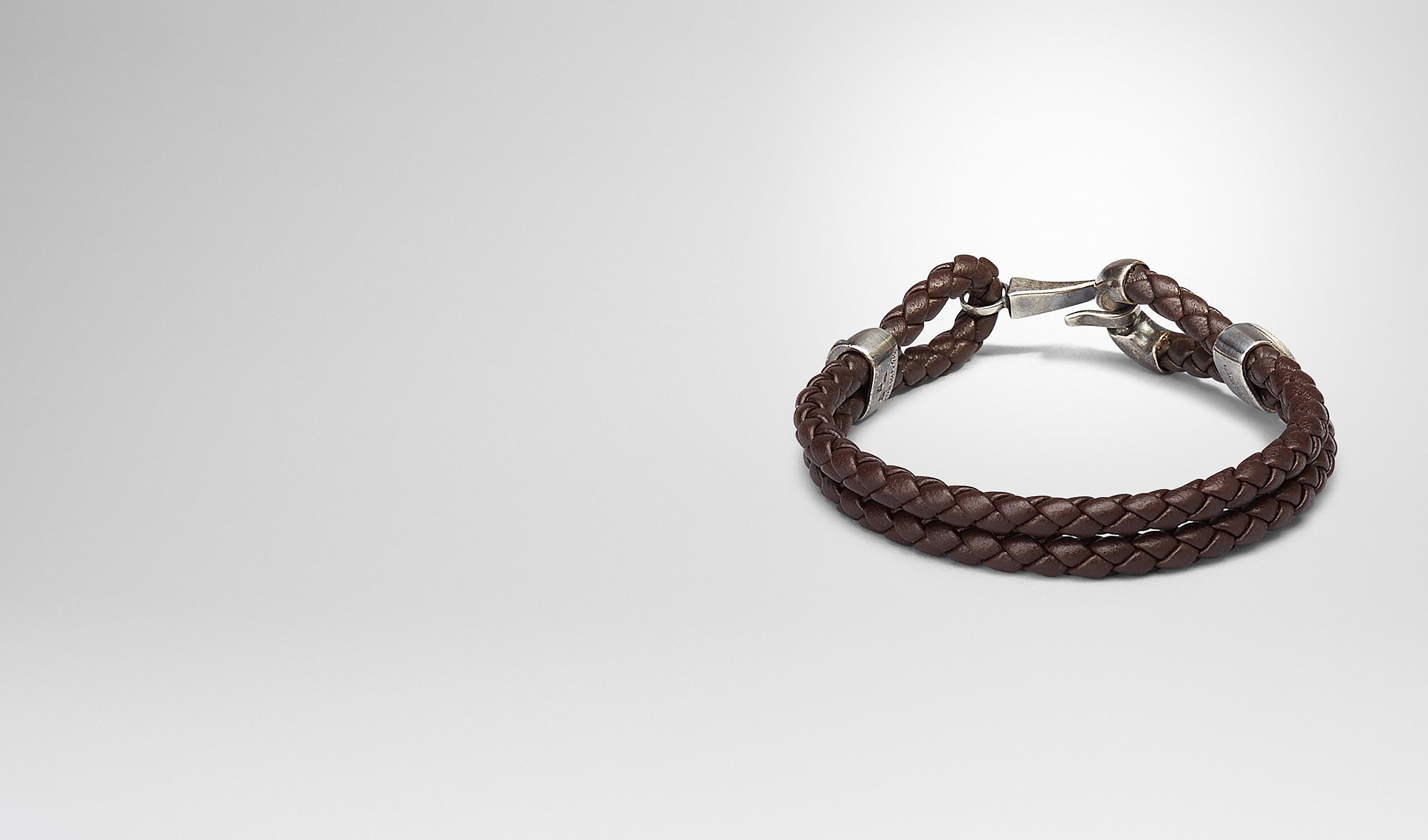 BOTTEGA VENETA Bracelet U Ebano Intrecciato Oxidized Silver Nappa Bracelet pl