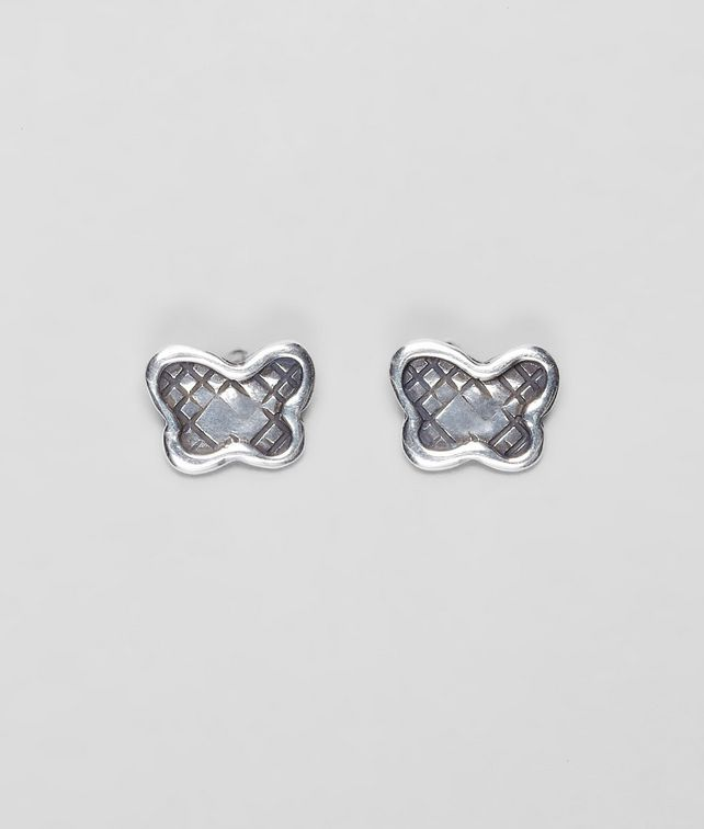 Bottega Veneta Earrings In Silver Intrecciato Details Pickupinshipping Info