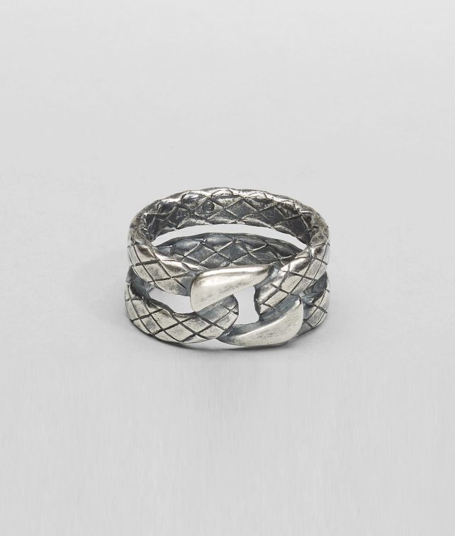 BOTTEGA VENETA Intrecciato Oxidized Silver Ring Necklace and Ring U fp