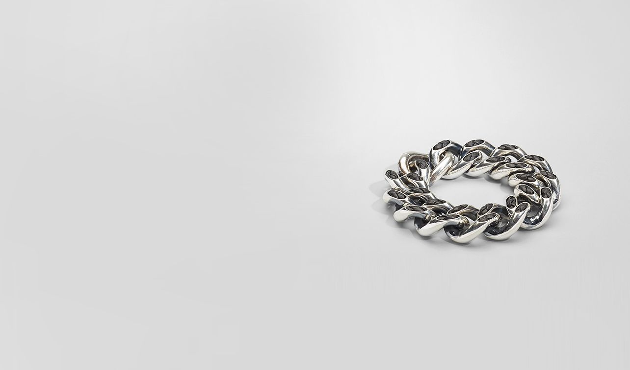 BOTTEGA VENETA Bracelet D Nero Intrecciato Nappa Intreccio Svanito Silver Bracelet pl