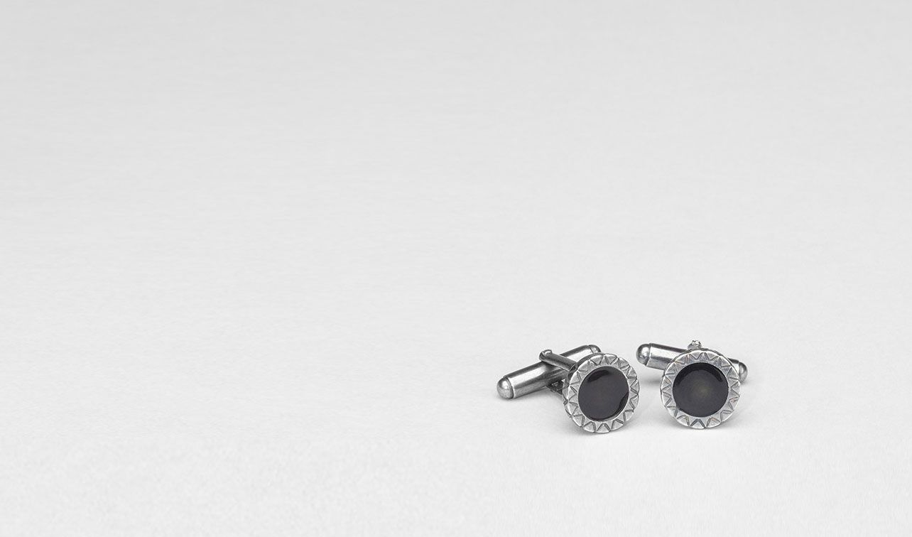 BOTTEGA VENETA Other Silver Accessory U NERO INTRECCIATO OXYDIZED SILVER ENAMEL CUFFLINKS pl
