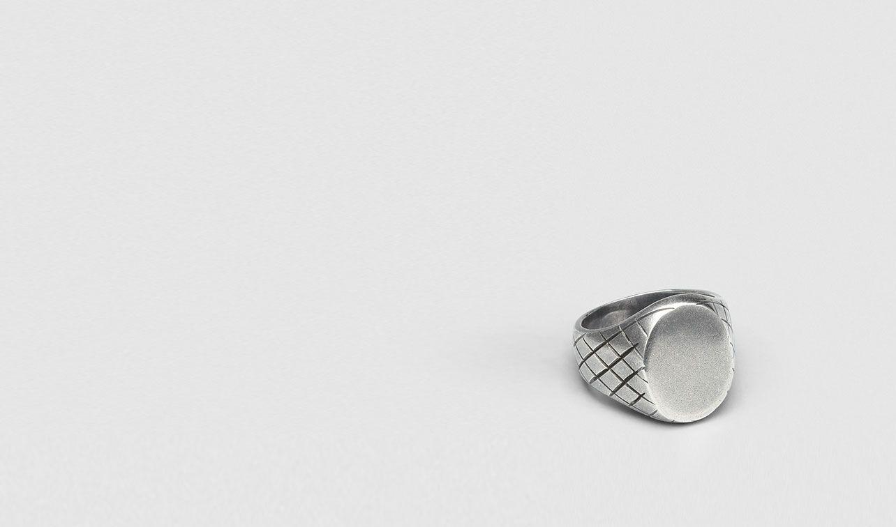 BOTTEGA VENETA Necklace and Ring U INTRECCIATO OXYDIZED SVANITO SILVER RING pl