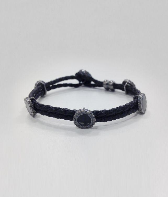 BOTTEGA VENETA NERO INTRECCIATO OXYDIZED SILVER ENAMEL BRACELET Bracelet U fp