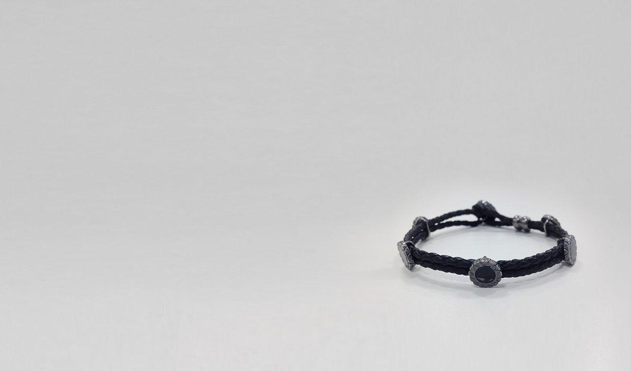 BOTTEGA VENETA Bracelet U NERO INTRECCIATO OXYDIZED SILVER ENAMEL BRACELET pl
