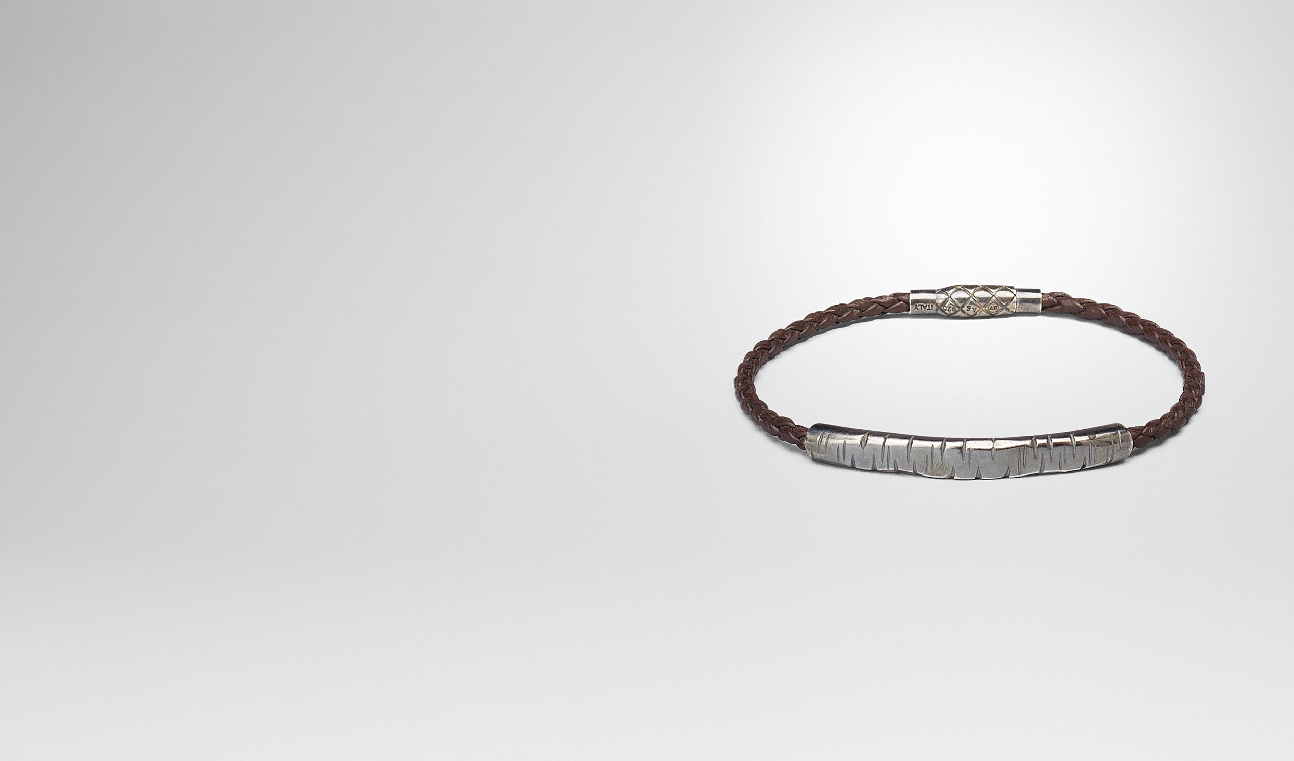 BOTTEGA VENETA Bracelet U BRACELET IN EBANO INTRECCIATO NAPPA AND SILVER pl