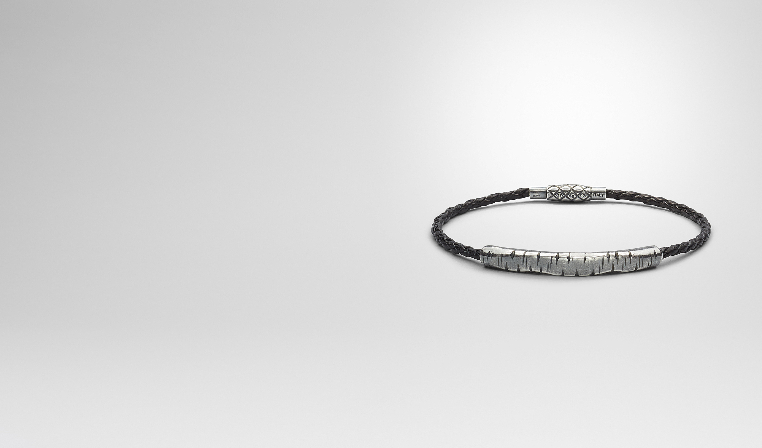 BOTTEGA VENETA Bracelet U BRACELET IN NERO INTRECCIATO NAPPA AND SILVER pl