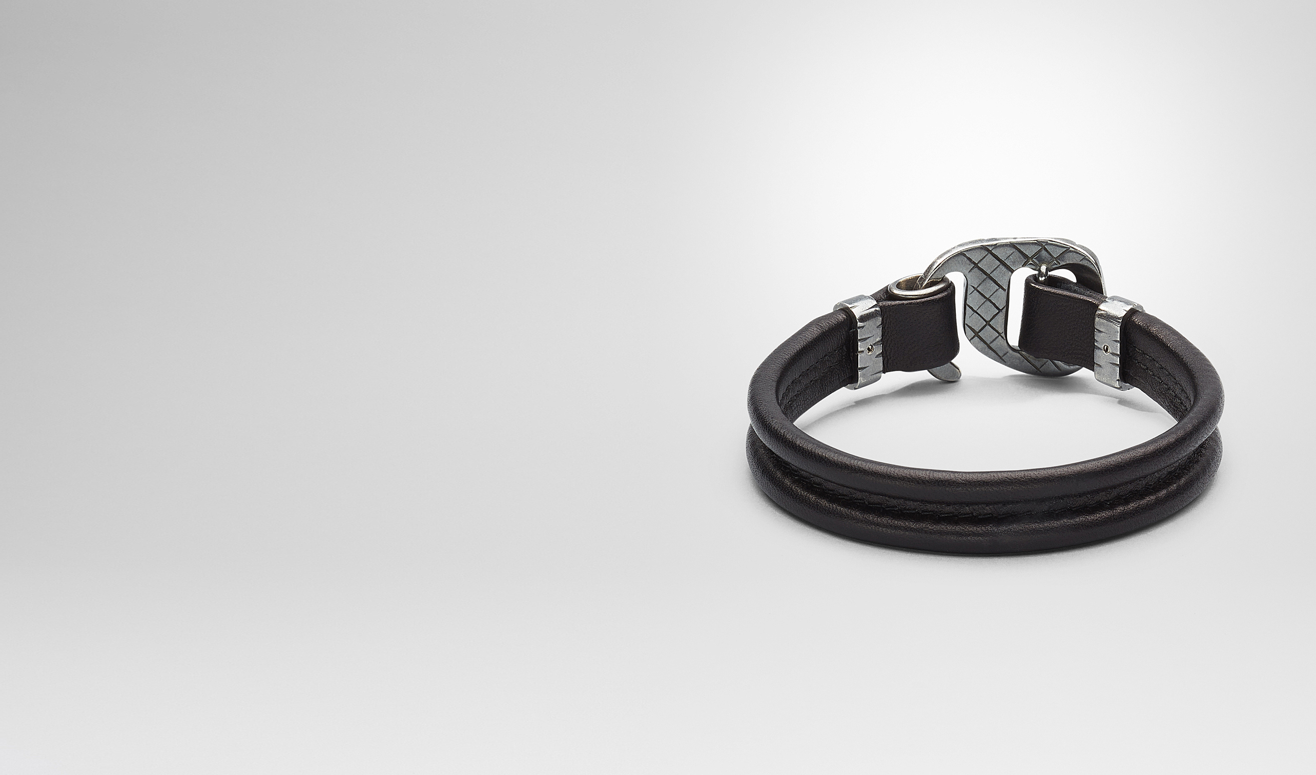 BOTTEGA VENETA Bracelet U Nero Intrecciato Oxidized Silver Nappa Bracelet pl