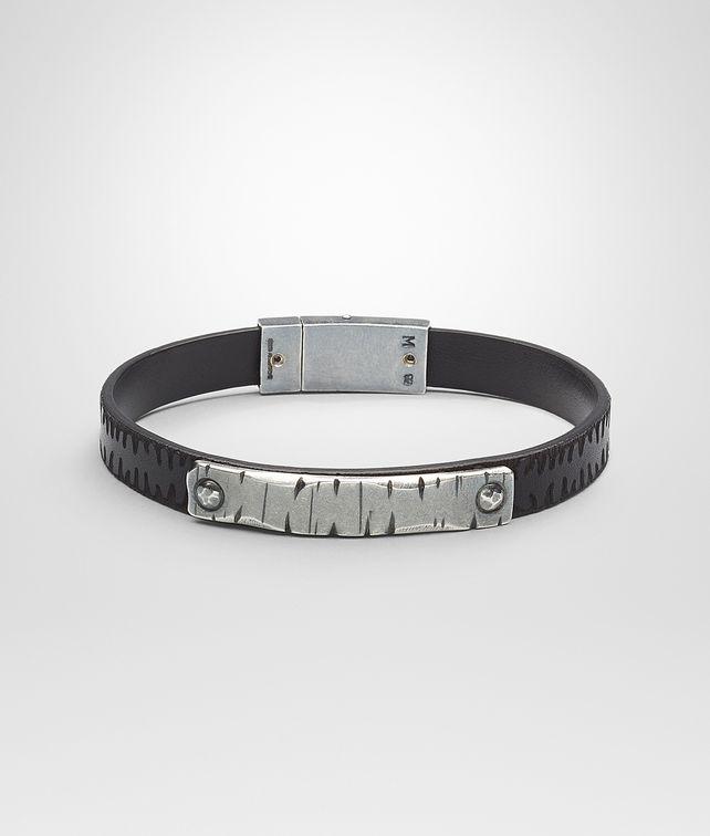 BOTTEGA VENETA Nero Intrecciato Oxidized Silver Cuir Bracelet Bracelet U fp