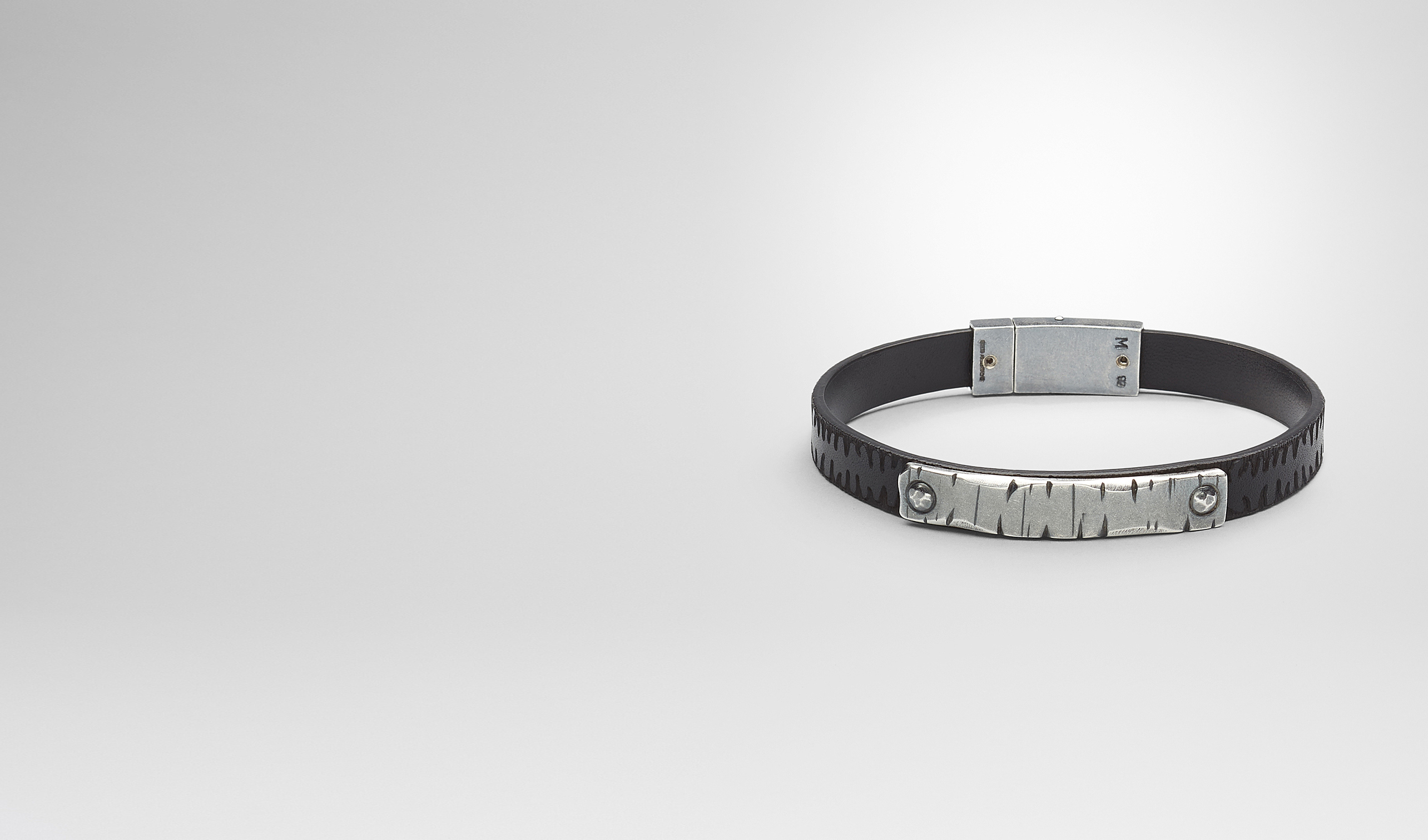 BOTTEGA VENETA Bracelet U Nero Intrecciato Oxidized Silver Cuir Bracelet pl
