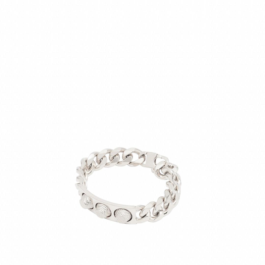 BALENCIAGA Balenciaga Classic Silver 3 Studs Bracelet Bracelet D f