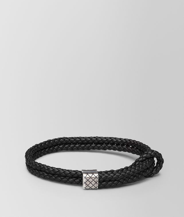 BOTTEGA VENETA BRACELET IN NERO INTRECCIATO NAPPA AND SILVER Bracelet [*** pickupInStoreShippingNotGuaranteed_info ***] fp