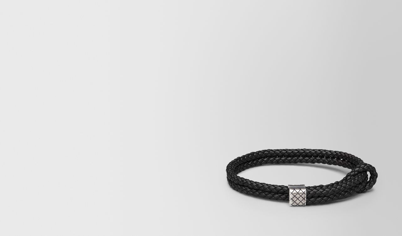 bracelet in nero intrecciato nappa and silver landing