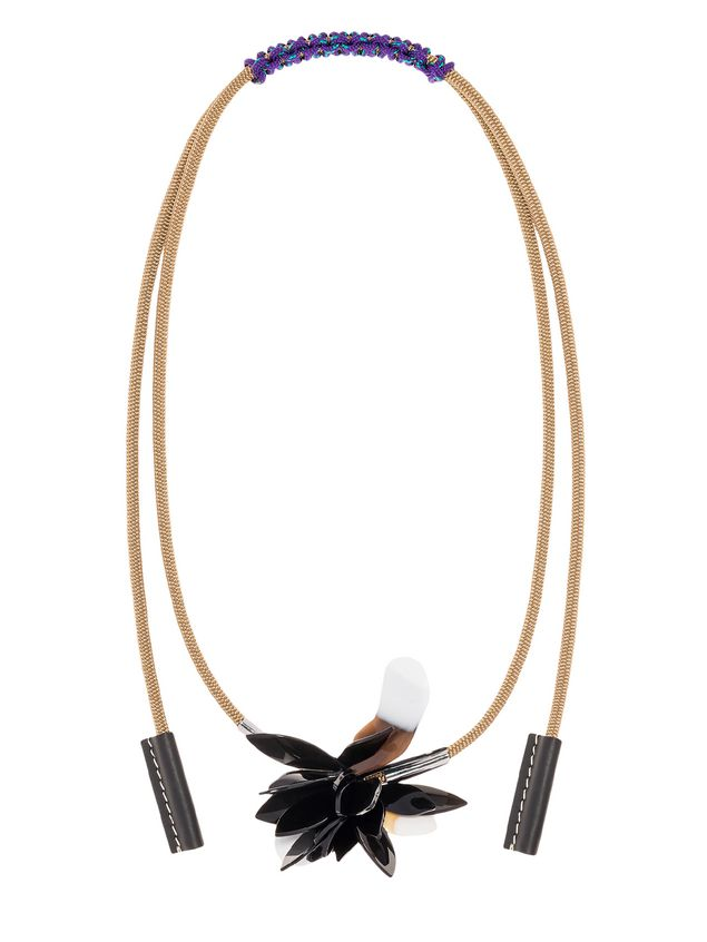 necklace leather and in shopping marni pp horn tone qlhm gold