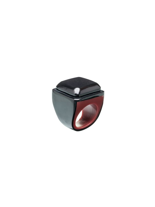 Marni Squared ring in bi-colored resin Woman - 1