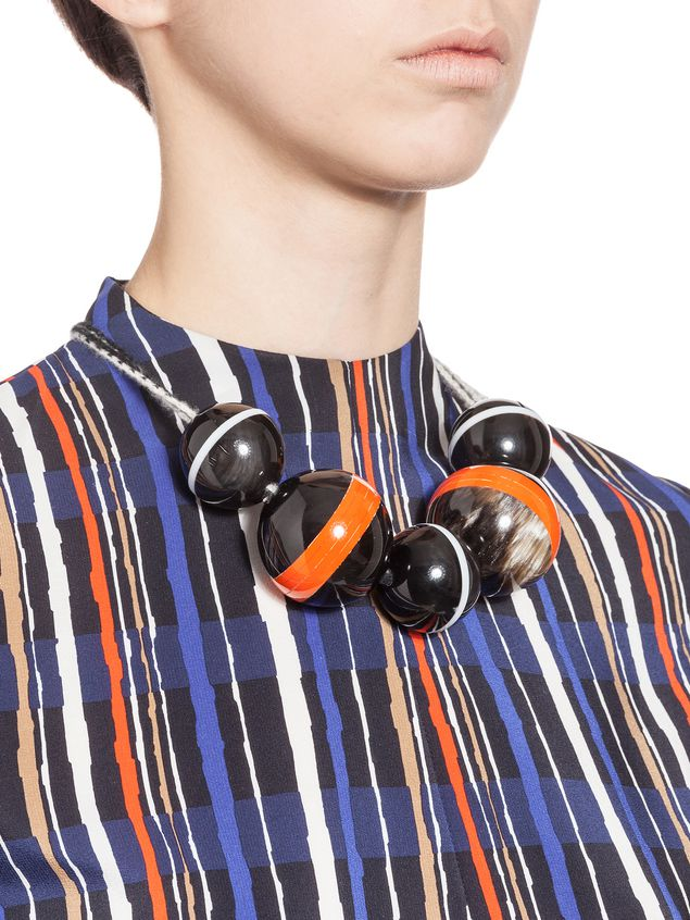 Marni Necklace with spheres in horn threaded onto a wool ribbon Woman - 2