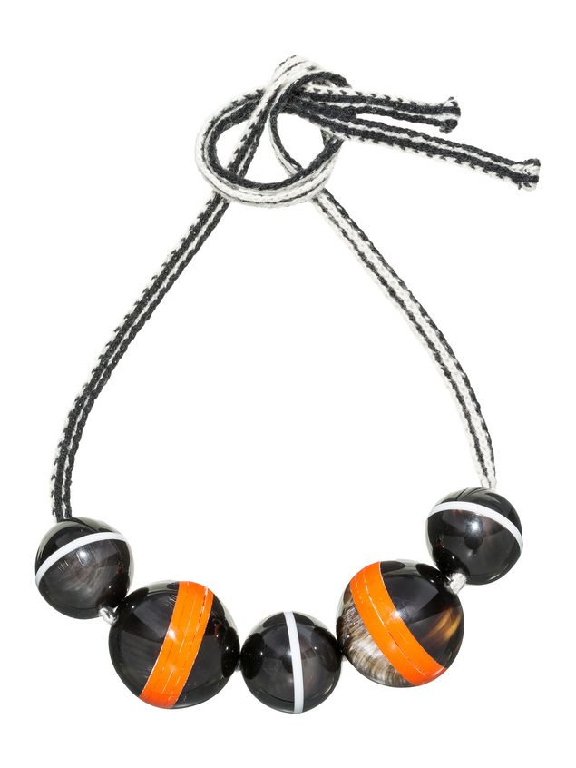 Marni Necklace with spheres in horn threaded onto a wool ribbon Woman - 1