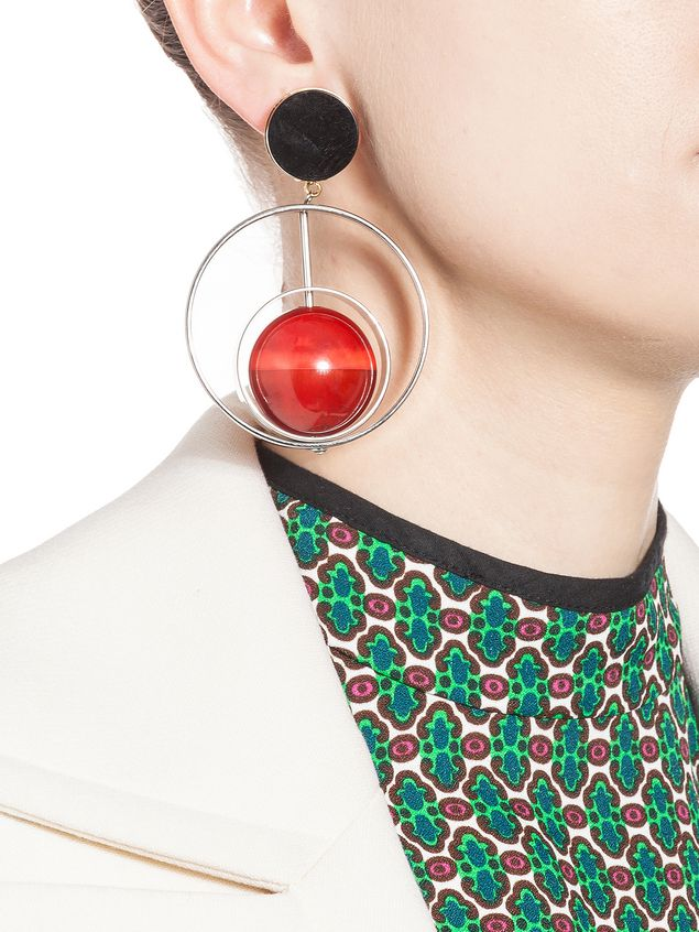 Marni Clip-on earrings in metal with sphere in natural horn Woman - 2