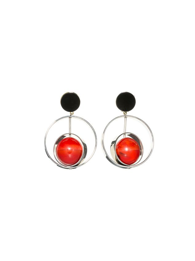 Marni Clip-on earrings in metal with sphere in natural horn Woman - 1