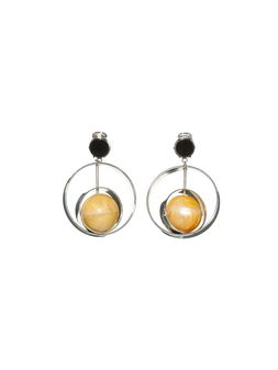 Marni Clip-on earrings in metal with sphere in natural horn Woman
