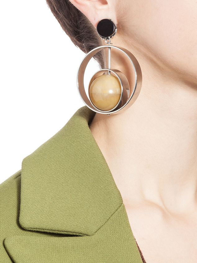 Marni Earring Woman Clip On Earrings In Metal With Sphere Natural Horn D