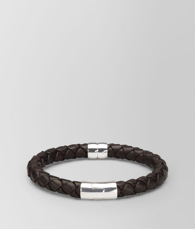 BOTTEGA VENETA BRACELET IN ESPRESSO INTRECCIATO NAPPA AND SILVER Bracelet [*** pickupInStoreShippingNotGuaranteed_info ***] fp