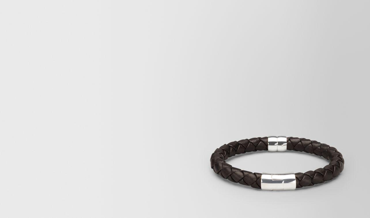 bracelet in espresso intrecciato nappa and silver landing