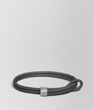 BRACELET IN NEW LIGHT GREY INTRECCIATO NAPPA AND SILVER