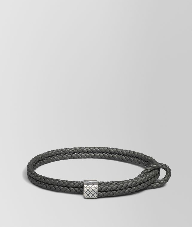BOTTEGA VENETA BRACELET IN NEW LIGHT GRAY INTRECCIATO NAPPA AND SILVER Bracelet Man fp