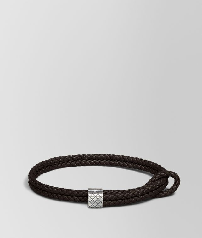 BOTTEGA VENETA BRACELET IN ESPRESSO INTRECCIATO NAPPA AND SILVER Bracelet [*** pickupInStoreShippingNotGuaranteed_info ***] fp