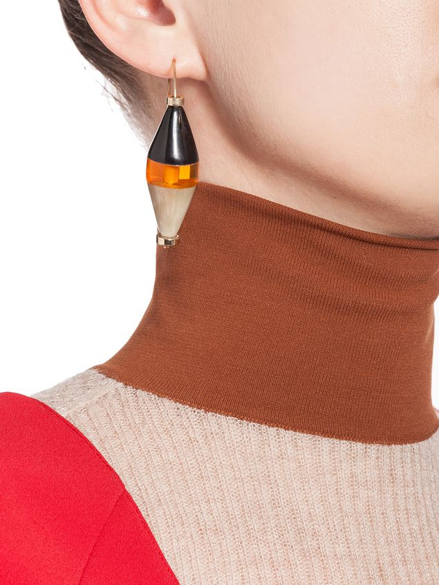 Marni Runway hourglass earrings in horn and resin Woman - 2