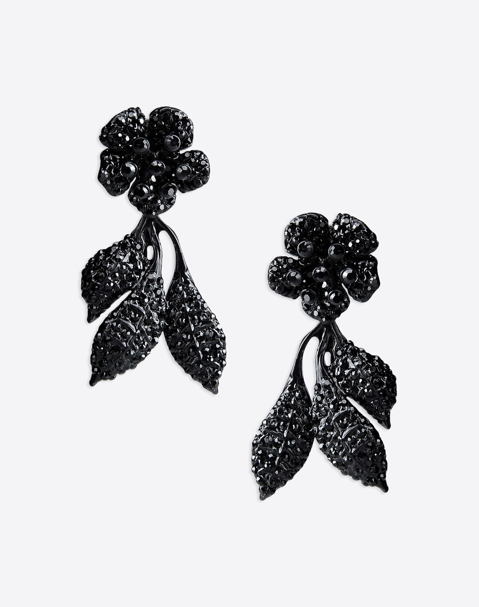 VALENTINO Valentino Garavani brass pendant flower earrings detailed with rhinestones  - Ruthenium-finish brass  - Black rhinestones  - Stud post back closure  - Pendant on the back  - Made in Italy 50172506fk