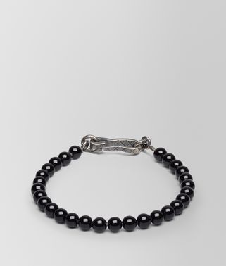 BRACELET SILVER AND ONYX STONES WITH INTRECCIATO DETAIL