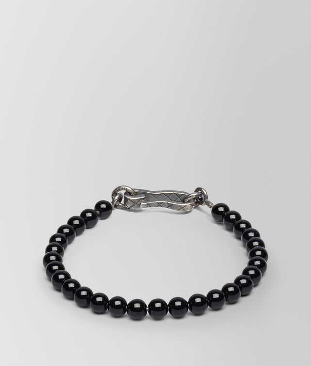 BOTTEGA VENETA BRACELET SILVER AND ONYX STONES WITH INTRECCIATO DETAIL Bracelet U fp