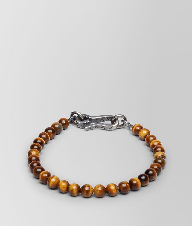BOTTEGA VENETA BRACELET IN SILVER TIGER'S EYE STONES Bracelet Man fp