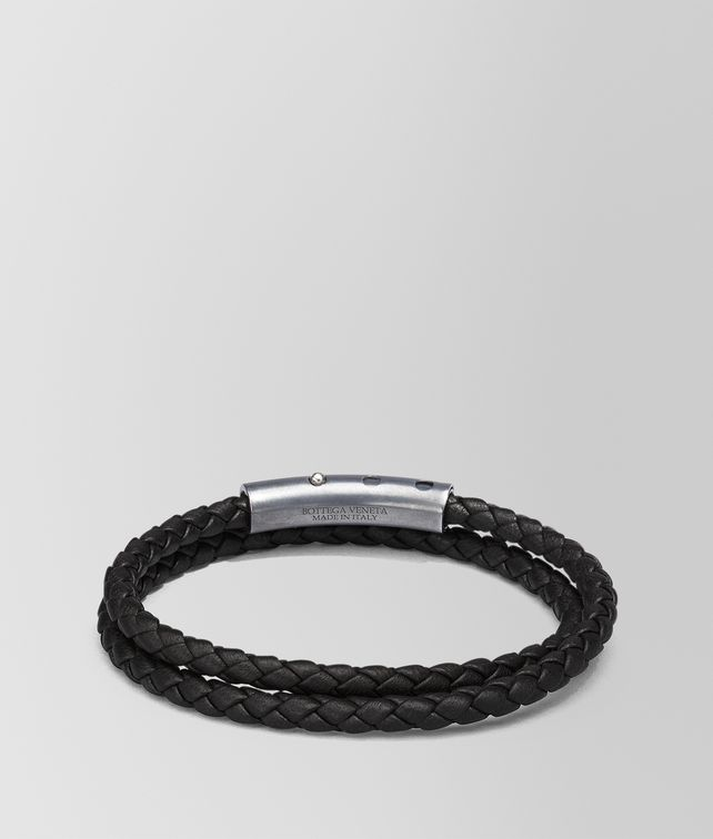 BOTTEGA VENETA BRACELET IN NERO INTRECCIATO NAPPA AND STERLING SILVER Bracelet Man fp