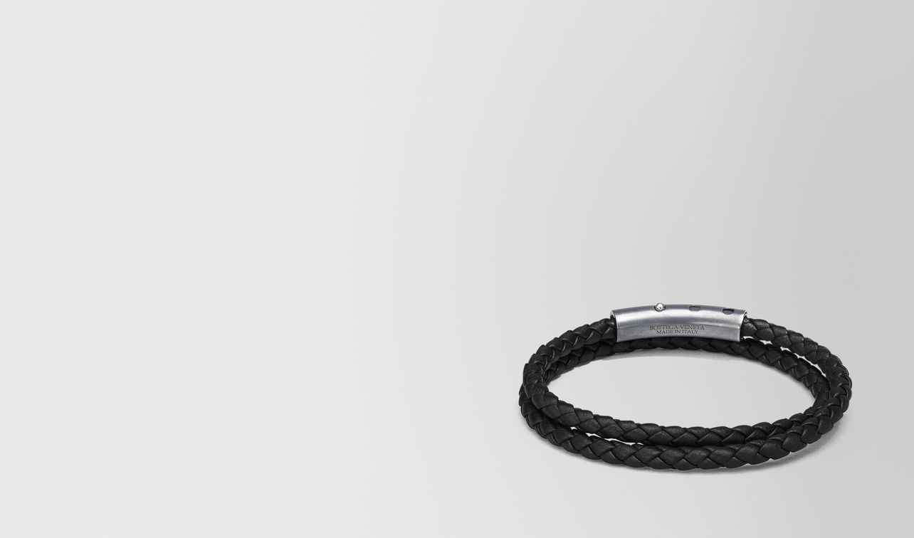 bracelet in nero intrecciato nappa and sterling silver landing