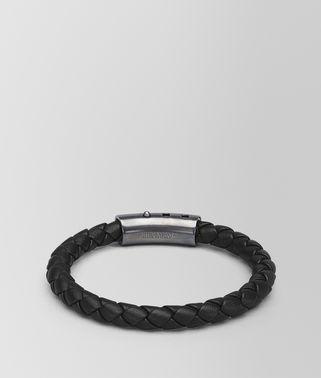 黑色编织小羊皮银手环