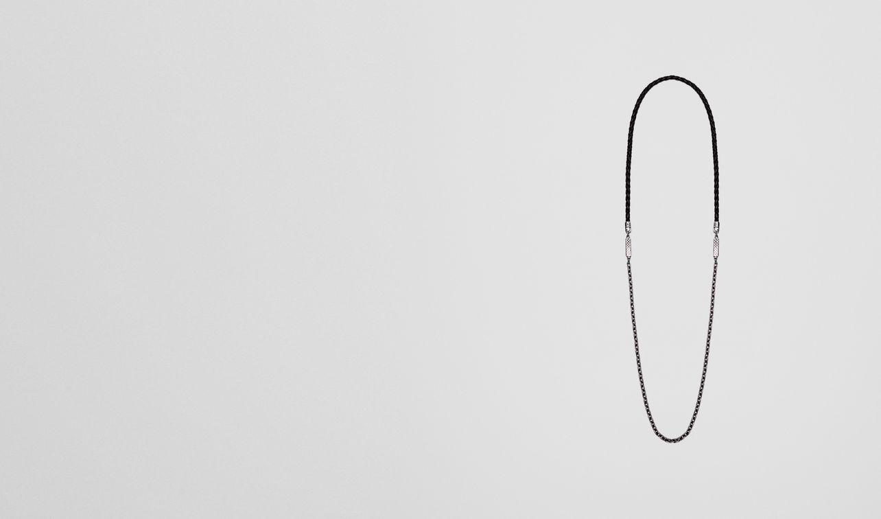 necklace in nero intrecciato nappa and silver landing