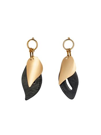 Marni Leaf-shaped clip-on earrings in metal and leather  Woman