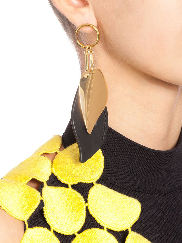 Marni Leaf-shaped clip-on earrings in metal and leather  Woman - 2
