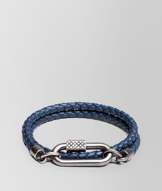 海洋蓝编织小羊皮和银质手镯