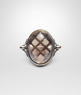 RING IN SILVER AND SMOKY QUARTZ STONES WITH YELLOW GOLD ACCENTS