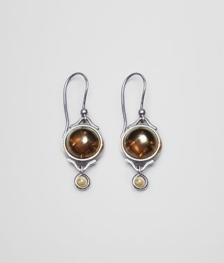 EARRINGS IN SILVER, SMOKY QUARTZ AND TOURMALINE STONES WITH YELLOW GOLD ACCENTS