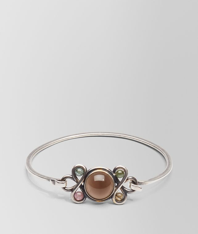 BOTTEGA VENETA BRACELET IN SILVER, SMOKY QUARTZ AND TOURMALINE STONES WITH YELLOW GOLD ACCENTS Bracelet D fp