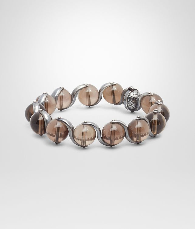 BOTTEGA VENETA BRACELET IN INTRECCIATO SILVER AND SMOKY QUARTZ STONES Bracelet D fp