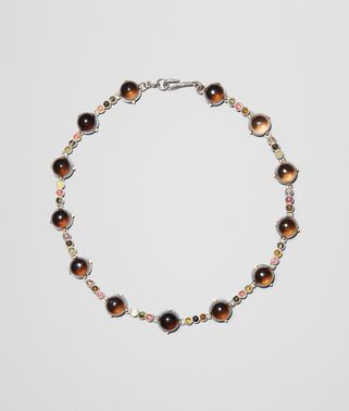 NECKLACE IN SILVER, SMOKY QUARTZ AND TOURMALINE STONES WITH YELLOW GOLD ACCENTS